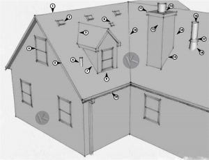 Common areas of the roof for a leak to occur.