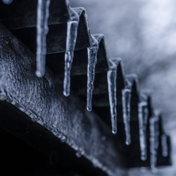 Icicles on the edge of a roof