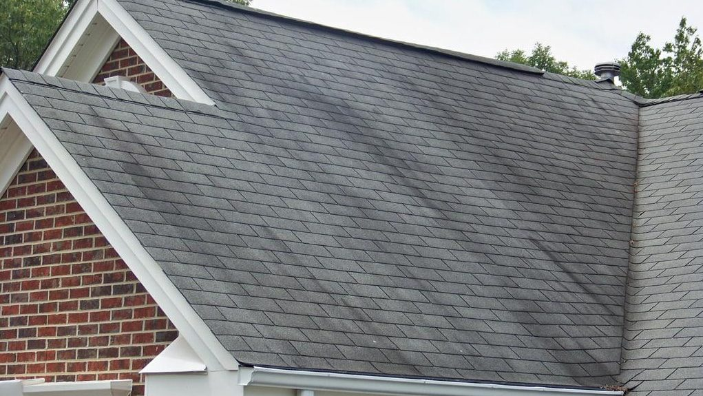 Visible dark spots or algae on roof is a sign that it's time for a new roof.